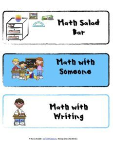 math workshop organization cards