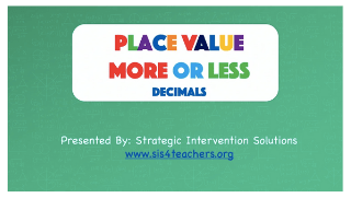 Place Value More or Less – Decimals